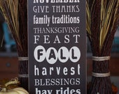 Thanksgiving/Fall Subway Art-- 10x24 decorative wooden sign, typography