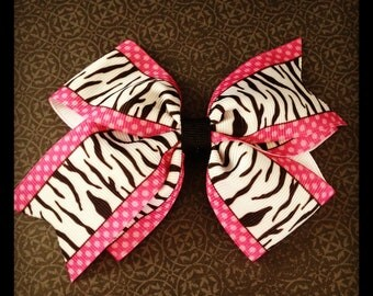 Hot Pink and Black Zebra Print Hairbow