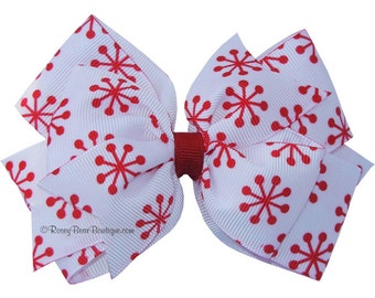 """Red and White Double Snowflake Hair Bow - 4.5"""" Red Snowflake Print RoseyBow® Hair Bow - Christmas or Winter Fun - Red Snowflake Hair Bow"""