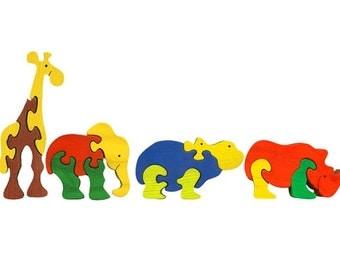 Packege of 4 pieces-Montessori-Waldorf maple wood puzzles- Zoo animals