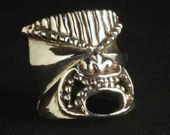 Sterling Silver Astral Warrior Tiki ring