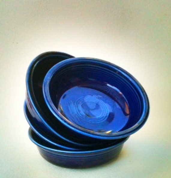 "Vintage ""HLC fiestaware MADE in USA"" Cobalt Blue "" fiesta"" Set of Four  7"" Bowls 1930s Prior to 1951 Shabby Country Kitchen"