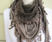 Brown triangle Turkish winter shawl scarf - knit fabric with lace edge scarf- women's scarves 2012 - fringe scarf gift woman - Scarves2012