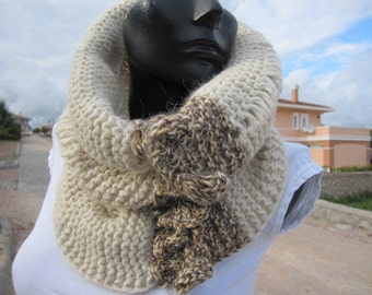 Ivory Infinity Scarf Knit cowl -Women's scarves-woman winter fashion accessories-Cape-neck warmer-super warm merino wool scarf-gifts for her