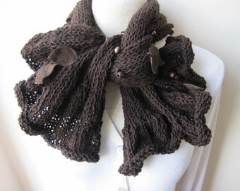 Women's Knit scarves- knit BOW scarf-beaded-brown-Woman fashion-neck warmer-woman Winter fashion accessories-gifts for her -women's scarves