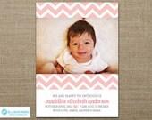 Girl Birth Announcement - Birth Announcement - Baby Girl - Baby Announcement - photo - Pink - Chevron - Flower - Printable