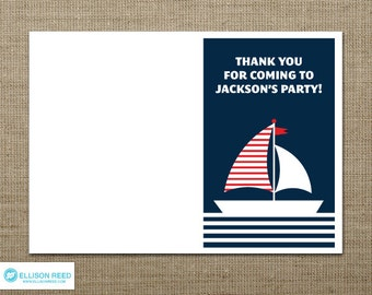 Nautical Thank You Note - printable party - First Birthday - Baby shower - Invitation - Stationery - DIY Printable