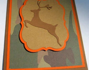 Hunter Birthday Card with Camo and Deer