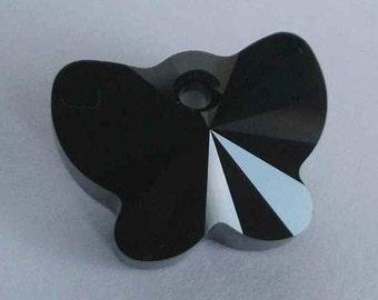 1 SWAROVSKI 6754 Butterfly Crystal Pendant 18mm JET