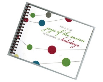 JOYS OF the SEASON repurposed greeting card spiral bound journal notebook
