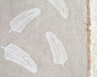 Quill in Alabaster White : organic linen/organic cotton handprinted fabric panel