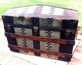 Vintage Dome Style Steamer Trunk 1900s