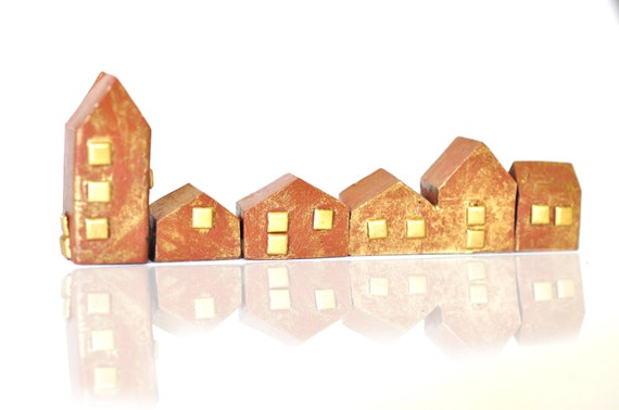 Geometric Clay Miniature Houses - Metallic Gold Washed, Brass embellishments, Brown Polymer Clay,