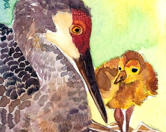 ACEO Limited Edition 3/25-Crane's nest, in watercolor