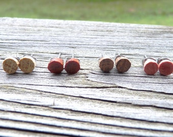 Wood Stud Earrings 4 Pairs Bachelorette Party Gift Set w/ Hypoallergenic Posts