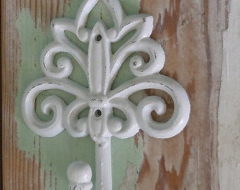 Shabby Chic Cottage Decor / Beach Decor / Decorative Wall Hook / White Distressed /Wall Hook /Towel Hook / White Wall Decor
