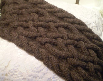 Handmade Knit Brown Fisherman's Wool Celtic Knot/Cable Knit Scarf