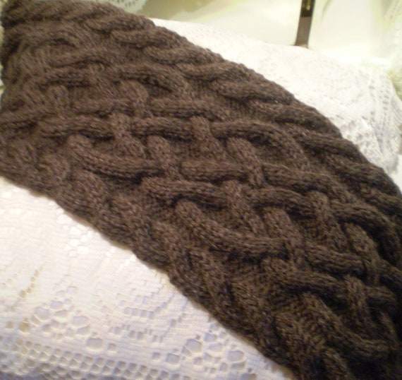 Handmade knit brown fisherman s wool celtic knot cable knit scarf