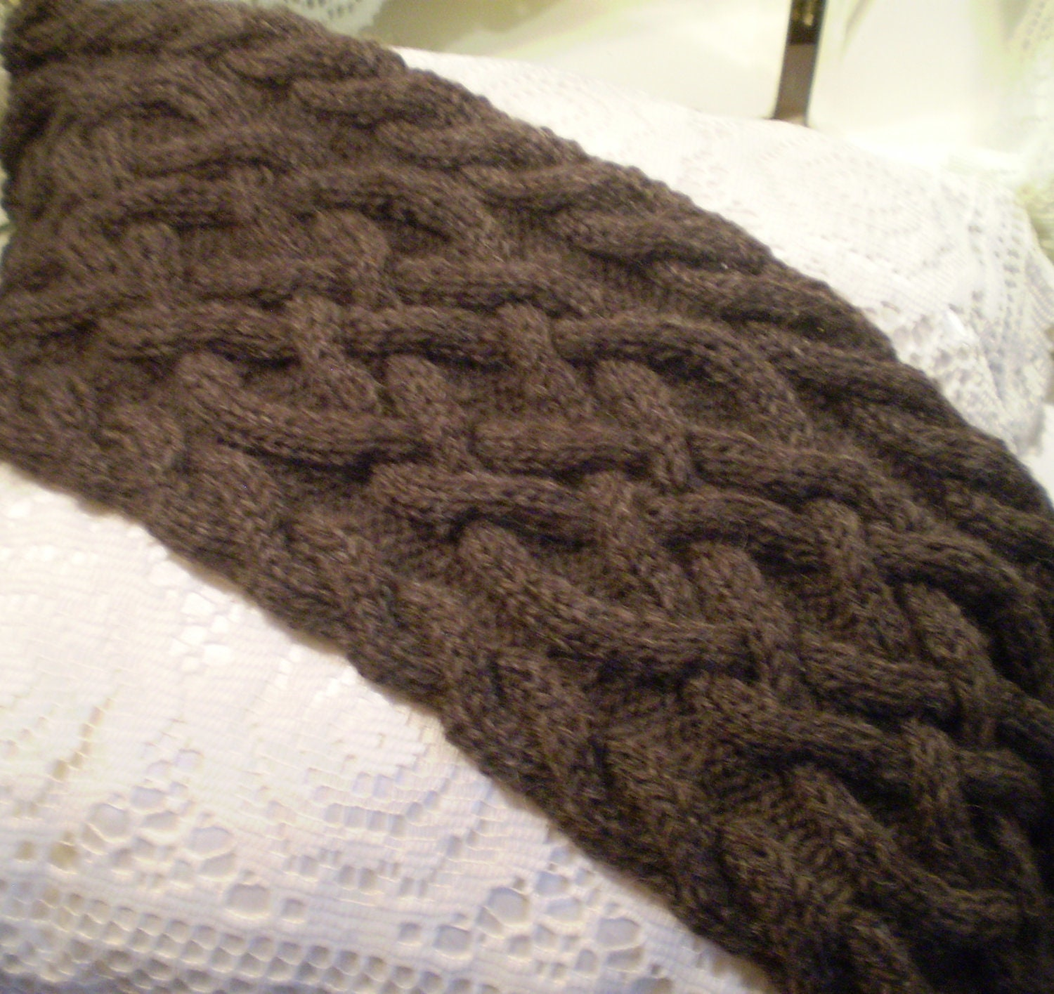Celtic Knot Scarf Knitting Pattern : Handmade Knit Brown Fishermans Wool Celtic by GardenSpring