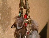 Feathers & Chains Earrings.... Beautiful native inspired, dangling feather earrings...turquoise, coral, and handmade deer antler beads.