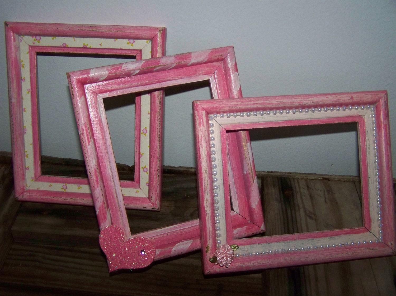 Pink Frames Upcycled Shabby Pink Frames Pink Wooden Frame Set