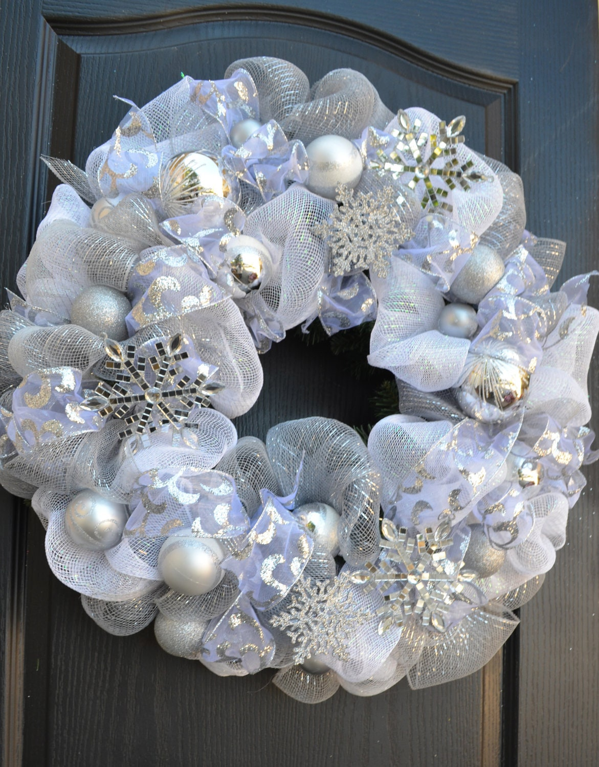 deco mesh white snowflake wreath silver and white tones