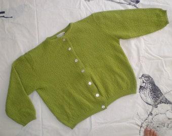 Sweet Apple Green Nubby Knit Sweater 1950's Rocker style