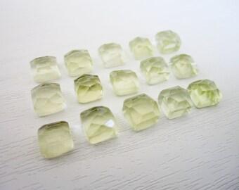 GCF-1243 - Natural Semi Precious Lemon Quartz Gemstone - 6mm Square Cabochon - AA Quality - 2 Cabs