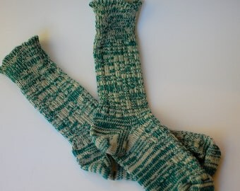 Socks Turquoise Green Handcranked Ragg Wool Cotton