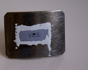 Sale Unisex Custom Yes Belt Buckle SIlver