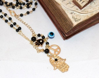 Rosary Style Black  white orange or blue and Gold Hamsa Peace Evil Eye Necklace Hand of Fatima