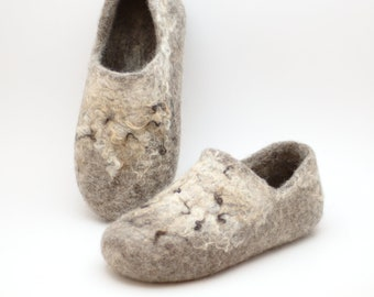 Felted wool clogs Wild rustic - country style handmade natural organic wool slippers - beige brown neutral