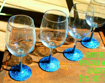 Set of 4 Peacock Glittered Wine Glasses