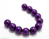 Bright Purple Czech Glass Pearl Beads 12mm (10) Pressed Round Druk Opaque Violet