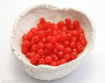 Opal Red Czech Fire Polished Beads 4mm (50) Milky Glass