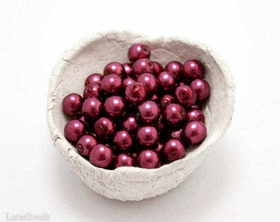 Dark Magenta Red Czech Glass Pearl Beads 6mm (50) Pressed Round Druk Opaque Small Mullberry