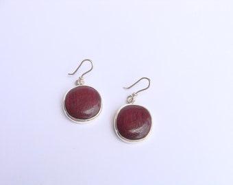 Little circle purpleheart wood & sterling silver earrings