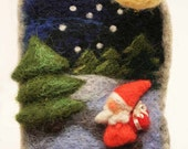 """Felted  brooch - """"silent Christmas night""""-  Christmas tree decoration - felted picture - Christmas ornament - Christmas gift"""