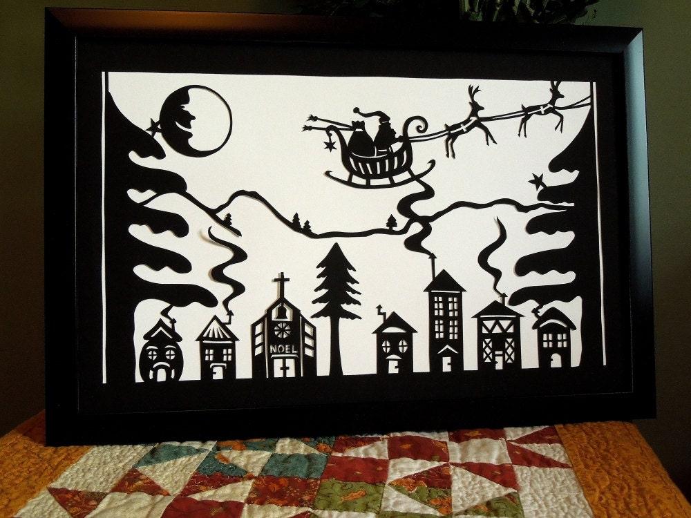 Retro Paper Cut Christmas Village With Santa Sleigh Reindeer