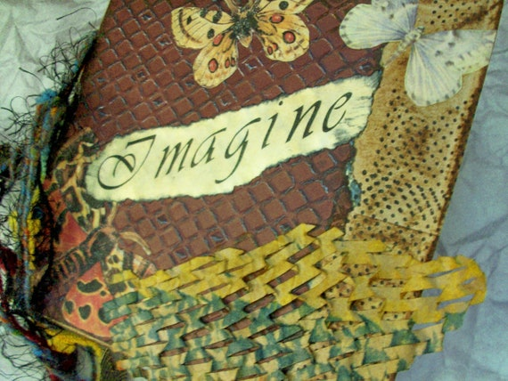 "RESERVED FOR SHERI -ooak smash book - ""Imagine"" - upcycled journal, photo album, blank book"