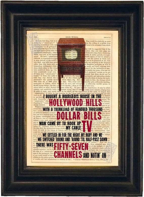 Bruce Springsteen 57 Channels and nothing on song lyric Print on upcycled Vintage Page mixed media  digital