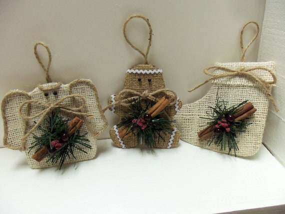 Burlap Cinnamon Stick Ornaments-Angel-Gingerbreadman-Stocking Set
