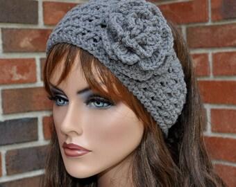 Crochet Ear Warmer, Crochet Headband with Flower,Heather Gray Head wrap. Style 3.