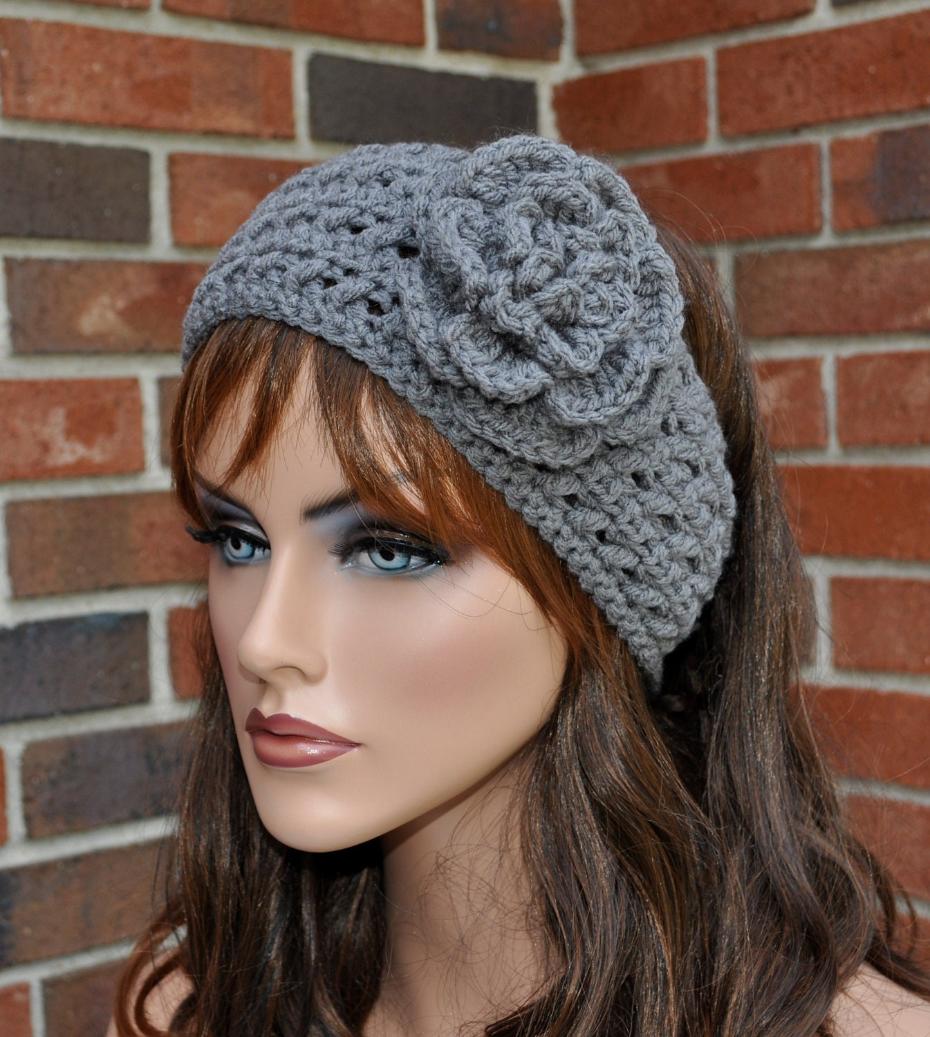 Free Crochet Ear Warmer Patterns For Adults : Crochet Ear Warmer Crochet Headband with FlowerGray by Cobanul
