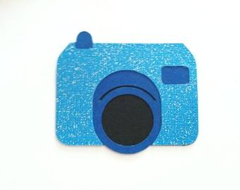 Camera die cuts, blue paper cameras, 4 embellishments