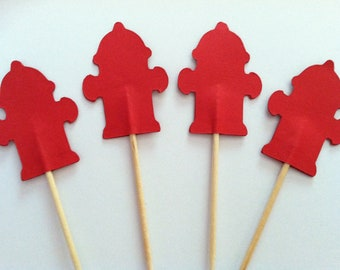 12 Fire hydrant cupcake toppers-appetizer picks-food picks-birthday cupcake toppers