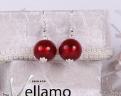 Earrings with round dark red Murano glass with silver foil, lampwork, shiny, wine red, Christmas red earrings