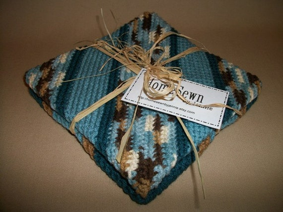 Set of 2 Crocheted Potholders (or Trivets)