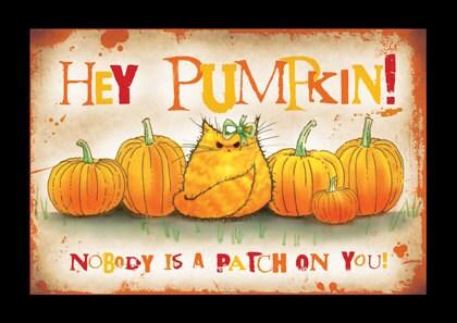 Hey Pumpkin Halloween greetings card by MADOLDCATLADY on Etsy