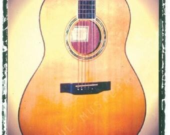 Acoustic guitar art, music wall decor, musicians gift, gift for guy, gift for boyfriend, hipster, dude, rock n roll art